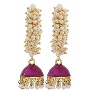 Maayra Dashing Purple White Pearl Sangeet Jhumki Earrings