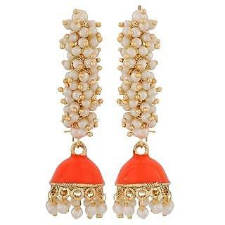 Maayra Sexy Orange White Pearl Reception Jhumki Earrings