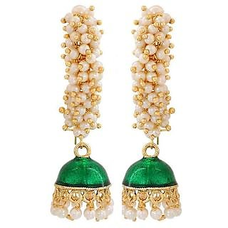 Maayra Superb Green White Pearl Party Jhumki Earrings