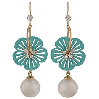 Maayra Classy Blue White Pearl College Dangler Earrings