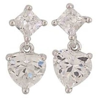 Maayra Fab Silver Stone Crystals Cocktail Stud Earrings