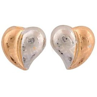 Maayra Lovely Hearts Silver Gold Designer Casualwear Stud Earrings