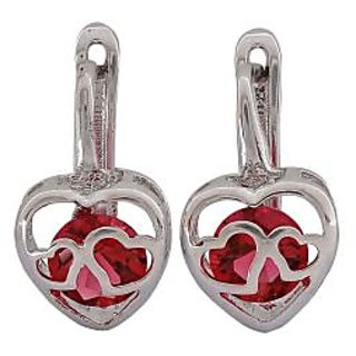 Maayra Double Hearts Purple Silver Designer Party Huggie Earrings