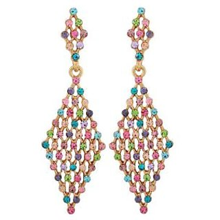 Maayra Beautiful Multicolour Stone Crystals Casualwear Drop Earrings