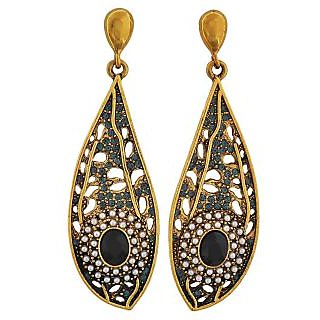 Maayra Trendy Black Blue Designer Cocktail Drop Earrings