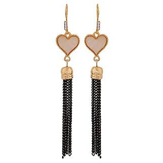 Maayra Dashing Off-White Black Designer Get-Together Drop Earrings