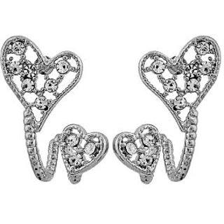 Maayra Hot Silver Stone Crystals Casualwear Drop Earrings