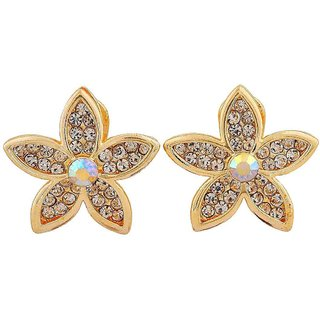 Maayra Exquisite Gold Stone Crystals Party Clip On Earrings