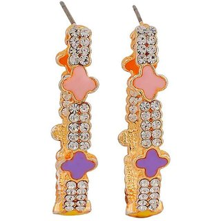 Maayra Chic Multicolour Stone Crystals Get-Together Drop Earrings