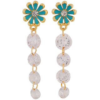 Maayra Special Blue Stone Crystals Party Drop Earrings