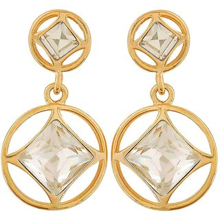 Maayra Cute Gold Stone Crystals Casualwear Drop Earrings