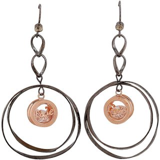 Maayra Darling Black Bronze Designer Casualwear Dangler Earrings