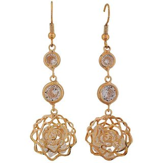 Maayra Sensual Gold Stone Crystals Party Dangler Earrings