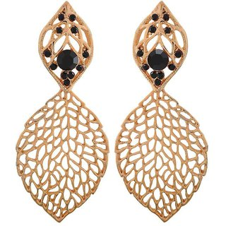 Maayra Fabulous Black Gold Filigree Casualwear Drop Earrings