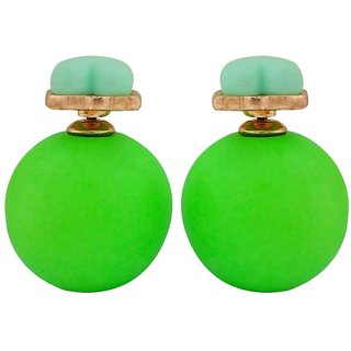 Maayra Charming Green Pearl Cocktail Drop Earrings