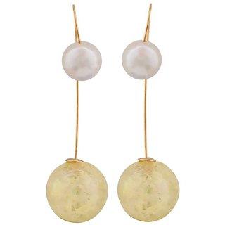 Maayra Plush Yellow White Pearl Casualwear Drop Earrings