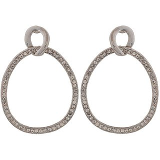 Maayra Darling Silver Stone Crystals Casualwear Drop Earrings