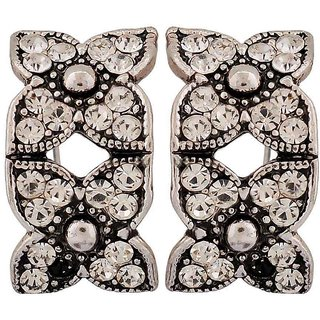 Maayra Sensual Silver Stone Crystals Party Clip On Earrings