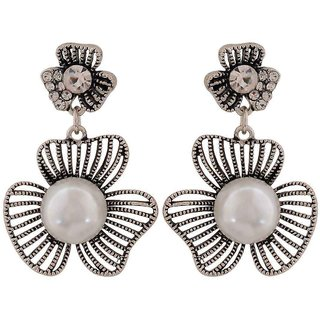 Maayra Sexy White Silver Pearl Casualwear Drop Earrings