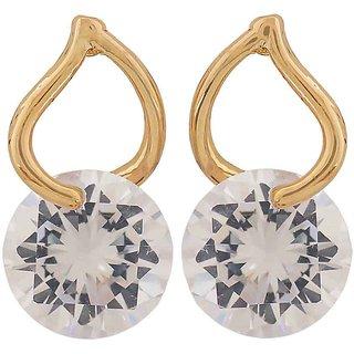 Maayra Terrific Gold Stone Crystals Cocktail Stud Earrings