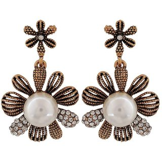 Maayra Smashing White Bronze Pearl Party Drop Earrings
