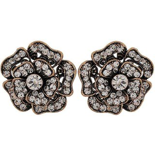 Maayra Elegant Bronze Stone Crystals Cocktail Stud Earrings