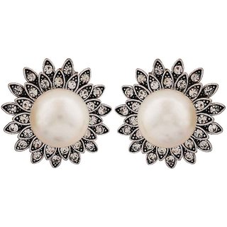 Maayra Classic White Pearl Get-Together Stud Earrings
