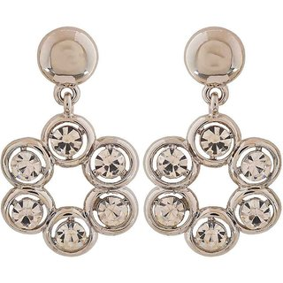 Maayra Sparkling Silver Stone Crystals Casualwear Drop Earrings
