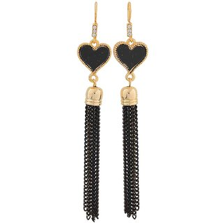 Maayra Modern Black Gold Designer College Dangler Earrings