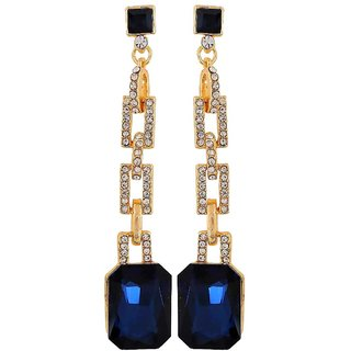 Maayra Fabulous Blue Off-White Stone Crystals Casualwear Tassel Earrings