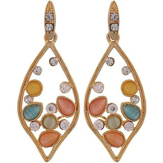 Maayra Fab Multicolour Stone Crystals College Drop Earrings