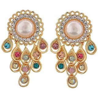 Maayra Sizzling Multicolour Pearl Cocktail Drop Earrings