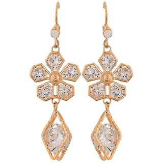 Maayra Stunning Gold Stone Crystals Get-Together Dangler Earrings