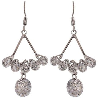 Maayra Sparkling Silver Stone Crystals Casualwear Dangler Earrings