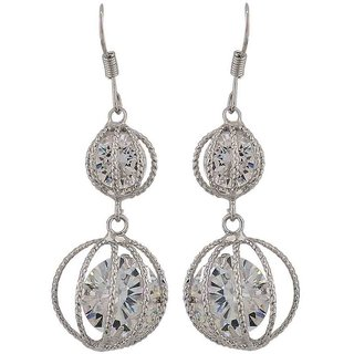 Maayra Exclusive Silver Stone Crystals Party Dangler Earrings