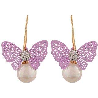 Maayra Lively Purple White Pearl Cocktail Dangler Earrings