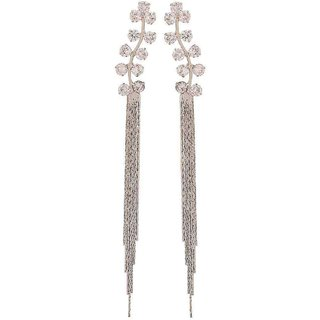 Maayra Great Silver Stone Crystals Casualwear Tassel Earrings