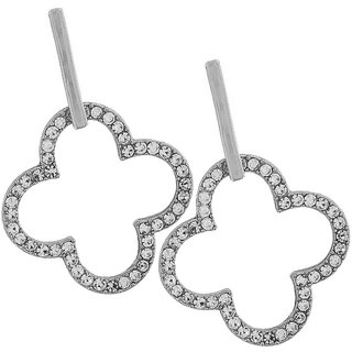 Maayra Classic Silver Stone Crystals Get-Together Drop Earrings