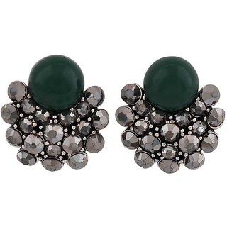 Maayra Great Green Silver Designer Casualwear Drop Earrings
