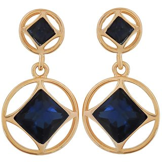 Maayra Lovely Blue Gold Stone Crystals Party Drop Earrings