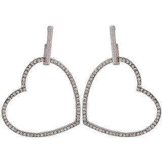 Maayra Beautiful Silver Stone Crystals Cocktail Drop Earrings
