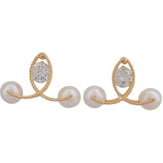 Maayra Exquisite White Gold Indian Ethnic Casualwear Drop Earrings