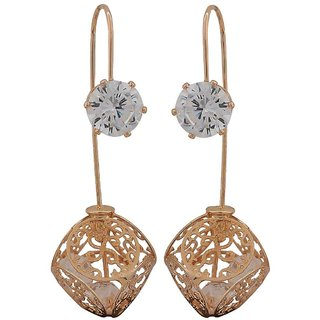 Maayra Posh Bronze Stone Crystals Party Drop Earrings