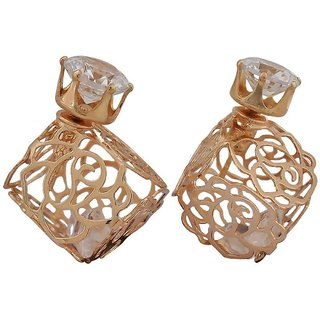 Maayra Bright Gold Filigree Cocktail Stud Earrings