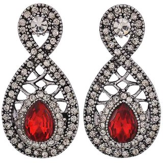 Maayra Hot Red Silver Kundan Cocktail Drop Earrings