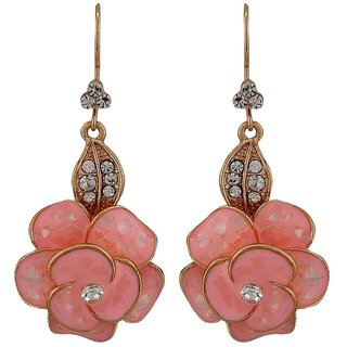 Maayra Awesome Pink Gold Stone Crystals Party Dangler Earrings