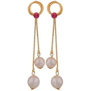 Maayra Beautiful Pink White Pearl Cocktail Tassel Earrings