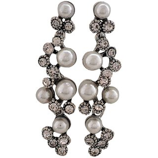 Maayra Classy White Silver Pearl Casualwear Drop Earrings