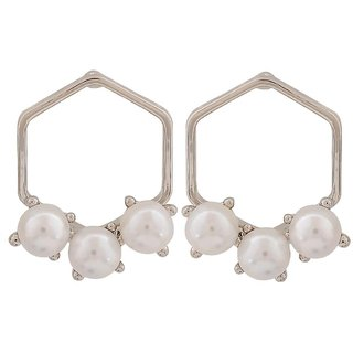 Maayra Hot White Silver Pearl Cocktail Drop Earrings