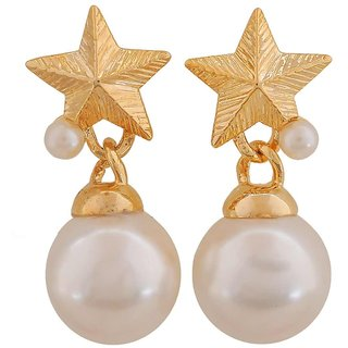 Maayra Charming White Gold Pearl College Drop Earrings